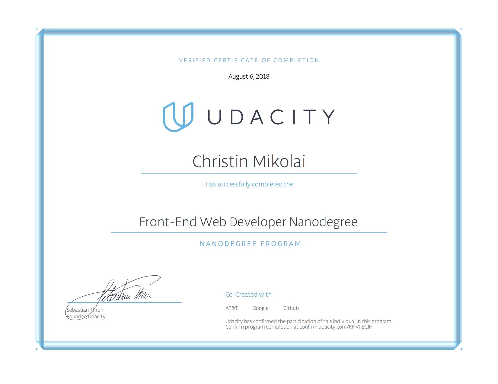 Udacity Zertifikat